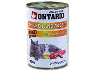 ONTARIO konzerva Chicken, Rabbit, Salmon Oil (400g)