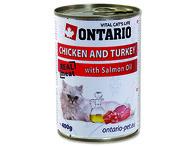 ONTARIO konzerva Chicken, Turkey, Salmon Oil (400g)