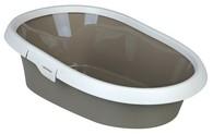 WC pro kočku PAULO I. s okrajem 31x14x43 cm béžovo/krémové
