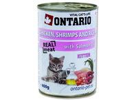 ONTARIO konzerva Kitten Chicken, Shrimp, Rice and Salmon Oil (400g)