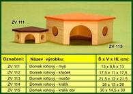 domek pro králika - rohový, dřevěný