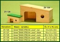 """Domek pro křečka """"Šikmá střecha pravá"""" - dřevěný"""