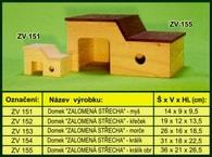 """Domek pro křečka """"Zalomená střecha"""" - dřevěný"""