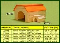 """Domek pro myš """"Valbová střecha"""" - dřevěný"""