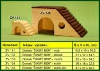 """Domek pro křečka, """"Šikmý bok"""" - dřevěný"""