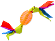 Přetahovadlo DOG FANTASY ovál gumové s látkou oranžové 43 cm (1ks)