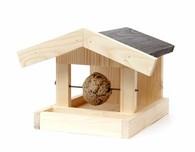 Venkovní dřevěné krmítko pevná stěna +úchyt na lojovou kouli