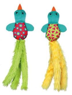 Hračka ptáček plyšovo-látkový barevný pro kočky 9 cm